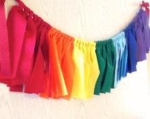 Rainbow Fabric Garland - Rainbow Fabric Bunting - Rainbow Garland + 10% off Party Supplies Coupon