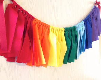Rainbow Fabric Bunting - FREE Shipping - Rainbow Fabric Garland - Rainbow Garland - Rainbow Bunting - Rainbow Party - Rainbow Party Decor