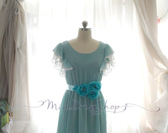 SUMMER CLEARANCE SALE  - Mint Green,Butterfly Sleeves,Lace Ruffles, Tunic Pleated Chiffon Dress, Elegance Victorian,Sundress