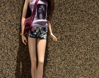 Erykah Lilac Tank Top and Matching Floral Hot Pants for 12in Fashion Dolls