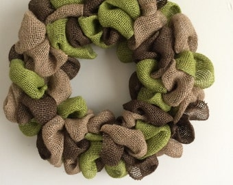 Camouflage Burlap Bubble Wreath in Green, Tan and Brown