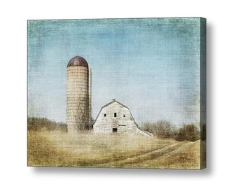 Rustic Dairy Barn and Silo Country Charm Vintage Faded Antiqued Effects Farmhouse Decor Fine Art Photography on Gallery Wrap Canvas