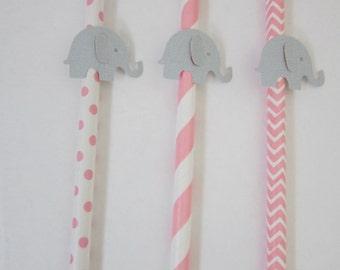 Pink Elephant Straws ~ Baby Shower ~ Birthday ~ Set of 12