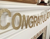 Congratulations Banner Gold or Silver Glitter 4-inch Letters