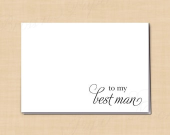 To My Best Man Printable Thank You Card, Simply Elegant: 5 x 3.5 - Instant Download