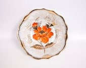 Vintage Poppy Serving Bowl Lusterware Encrusted Gold Iridescent Brushed Gold Scalloped Edge