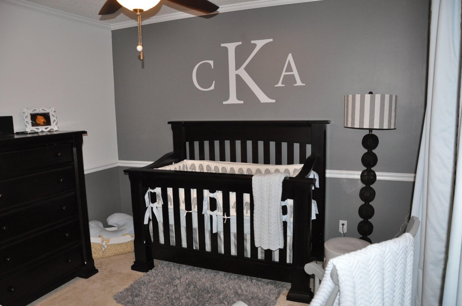 Monogram Wall Decal Large Monogram Wall Decal Personalized Decal Nursery Decal Bedroom Decal