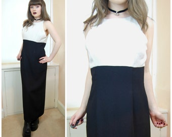 SALE 90s Grunge Minimal Black White Colourblock High Neck Spaghetti Strap Sleeveless Maxi Dress M