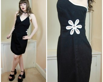 90s Grunge Clueless Black White Daisy Cut Outs Halter Neck Tie Back Spaghetti Strap Daisies Mini Dress S