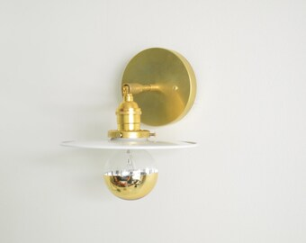 Hattie • brass & white wall sconce UL LISTED