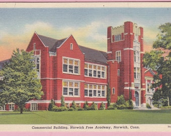 """Ca. 1930's """"Commercial Building"""" Norwick Free Academy, Norwick, CT Linen Topopgraphical Picture Postcard - 720"""