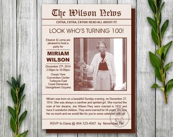 Newspaper Invitation, Birthday Newsletter Invitation, 100th Birthday Party Invitation Printable, News Story Birthday Invite, Front Page News