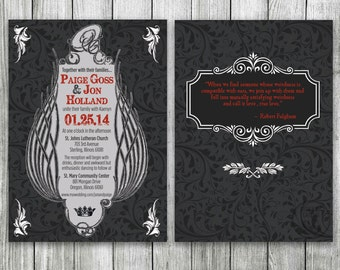 Renaissance Wedding Invitation Set, Game of Thrones Theme, Medieval Wedding Invitaton, Viking Invite, Gothic Wedding Invitation, Birthday