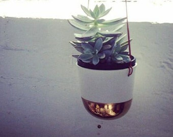 Copper Dome hanging planter - Porcelain