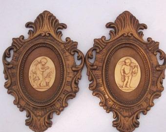 Sale-Vintage 60's pair of cherubs in oval frames