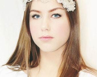 My Beautiful Ingrid bridal hairpiece - Bohemian halo with flowers, crystals and pearls