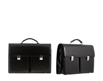Leather men's briefcase ABEL, double gusset  // black - large (Italian calf leather) - FREE shipping