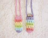 Striped Pastel Rainbow Lighter Leash - Handmade Bic Pocket Necklace  - Crochet Lighter Holder - Noelebelle