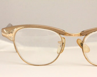 Vintage 50's Rose 12K Engraved Aluminum Cat Eye Eyeglasses