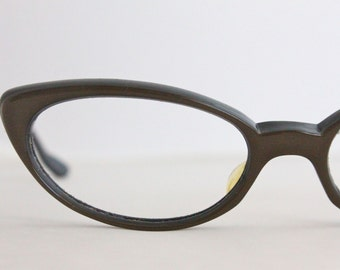 Vintage 50's Chocolate Cat Eye Eyeglasses Sunglass Frames