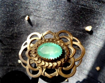 Antique Brass Sash Pin Brooch, Peridot Green Center Paste Stone, Vintage Late 1800s, Early 1900s, Victorian Jewelry
