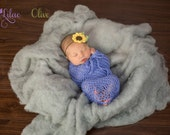 Crochet Newborn Swaddle Sac Blue Swaddle Sack Newborn Boy Girl Photography Prop, Newborn Photo Prop Knit