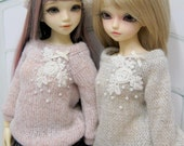 Sweater knit  decorated with lace and beads for MSD Unoa & Minifee.