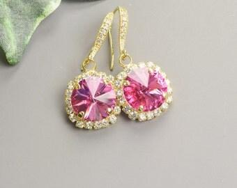 Bright Pink Earrings - Swarovski Crystal Earrings - Bridesmaid Earrings - Wedding Jewelry - Bridesmaid Jewelry - Crystal Drop Earrings