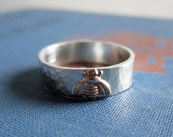 Golden Bee Sterling Silver Ring - Brass Bee Personalized Ring