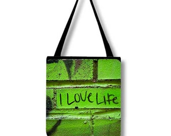 I Love Life Tote Bag, Graffiti Inspirational Quote City Photography, Photo Book Bag, Green Black Reusable Market Shopping Bag Functional Art