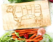 Butcher Cow Diagram wooden cutting board. Maple hard wood. Engraved vintage cow. Butcher's Diagram. Solid Wood Cutting Board.