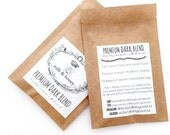 Sample Pack of Premium Dark Blend Ground Coffee. Roasted in Small Batches by Milk & Honey. Coffee Wedding Favor. 2 oz Bags.