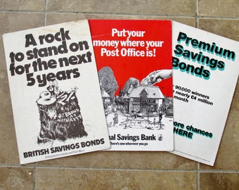 Three 1970s Post Office Advertising Boards Stand Up Posters National savings Bank England Premium Bonds