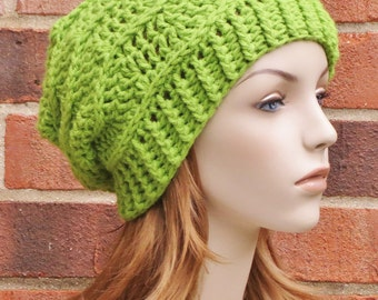 Lime Green Slouchy Hat - Crochet Beanie Hat - Slouchy Chevron Hat - Ribbed Slouchy Beanie - Womens Winter Hat  // THE TALIA //