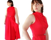 70s Victor Costa Dress, Red, Prom, Vintage Wedding, Evening Gown, Romantica