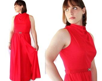 70s Victor Costa Red Dress Vintage Wedding Evening Gown Romantica