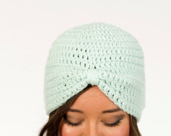 Mint Turban Crochet Hat, Women's Winter Accessory, Knit Beanie, 1920's Inspired, Gatsby, Handmade Crocheted Hat, Knitted, Statement