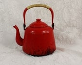 Vintage Enamel Teapot- Red with Rattan Covered Handle- Small Water Kettle- Stove Top