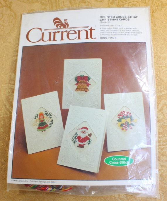 Christmas Card Counted Cross Stitch Kit Unfinished Vintage