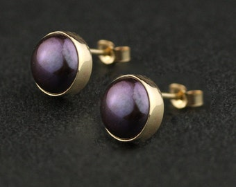 Solid Gold Aubergine Black Pearl Bezel Set Stud Earrings - 14k / 18k Gold