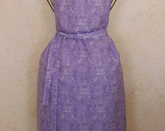 Eiffel Tower Apron - Handmade Full Women's Chef Hostess Apron in Paris French Inspired Purple Toile Cotton Fabric - Small to Plus Size