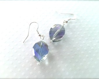 Lavender Blue Faceted Glass Beaded Dangle Earrings. Aurora Borealis Iridescent Finish. Small Drop Dangle Earrings. Under 10 Gifts. Purple.