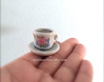 White Floral Teacup Necklace. Miniature Porcelain Teacup. Tea Set. Tea Party. Silver Chain. Pink Blue Flowers. Under 20. Cottage Chic. Cute.