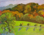 ORIGINAL Plein Air Landscape Oil Painting-Small Impressionist Art-Autumn-Fall colors-Bright morning light-Affordable art gift-PRICE REDUCED