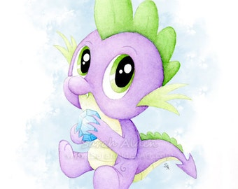 Dragon Art Spike My Little Pony Watercolor Painting Baby MLP