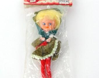 Vtg Japan Knee Hugger Girl Blonde Pixie Elf Christmas Holiday Ornament