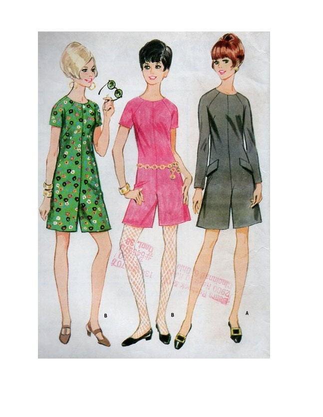 60s Retro Mod Mccall S 9075 Sewing Pattern One Piece