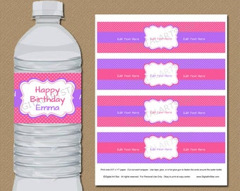 Pink and Purple Water Bottle Labels - DIY EDITABLE in Adobe Reader - Printable Birthday Party Water Labels - Baby Shower Bottle Wraps