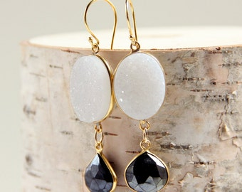 White Druzy Earrings & Pyrite, White and Black Gemstones, Drusy, Drop Earrings, Charcoal