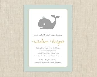 Whale Shower Invitation. Nautical shower invitation (Whale A3)